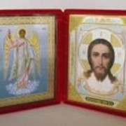 Икона складень малая картина Ангел Хранитель ростовой, Спаситель 7 фото
