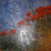 Картина на оргалите маслом Маки фото