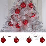 Декорация светодиодная Веста шар для елки красный d60мм 9л фото