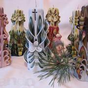 Подарки ручной работы Декоративные резные свечи фото