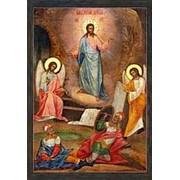 Мастерская копий икон Воскресение Христово, копия старинной иконы на иконной доске (ручная работа) Высота иконы 12 см фото