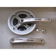 Шатун велосипедный Prowheel MA AE43+ 170mm, 42-34-24, серебрист. с пластик. защитой фото
