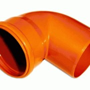 Канализационное колено ПП Ø110 оранжевый угол 90 фото