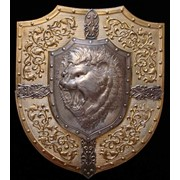 Чеканка Щит-Панно Оскал льва размер 650-550мм фото