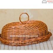 Хлебница плетеная из цельной лозы с крышкой Код: Арт 046-2 фото