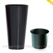Кашпо для цветов TUBUS SLIM SHINE DTUS300S-S433 антрацит 2 предмета 15 и 27л фото