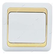 Выключатель Wega с золотой вставкой. Белый №270405 фото