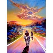Картина маслом на тему мотоцикл, дорога в стиле импрессионизм на холсте фото