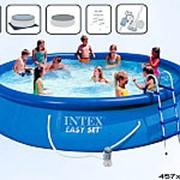 Бассейн intex с надувным кольцом 457х457х91 56414 фото