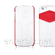 Чехол Hoco for iPhone 5/5S Mixed Color Flip Leather case White/Red (HI-L022W), код 46368 фото