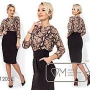 Платье женское комбинированное (2 цвета) - Коричневый НК/-716023 фото