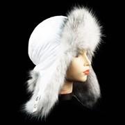 Шапка ушанка женская, белая плащевка, искусственный мех фото