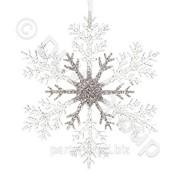 Декор Снежинка пласт. прозр,серебрист. d21cм фото