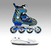 Детские раздвижные коньки трансформеры MaxCity UNIVERSAL SET COMBO boy синий фото
