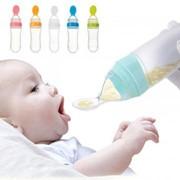 Бутылка с ложкой для безопасного прикорма, голубой фото
