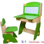 Комплект парты с магнитной доской и стульчика салатово-бежевый фото