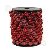 Декор Бусы жемчуг красные d14ммх5м фото