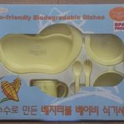 Набор детской эко-посуды из биопластика, 8 предметов фото
