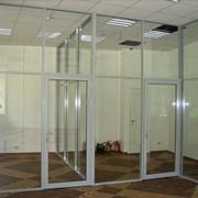 Перегородки офисные стеклянно-рамные фото