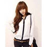 Рубашка черный и белый, женская шифоновая рубашка, жіноча сорочка шифонова фото