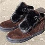 Женские зимние коричневые ботинки с мехом кролика фото