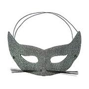 Карнавальная маска Кошка серебряная фото