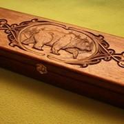 Футляр для ножа с резьбой Медведь фотография