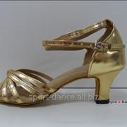 Туфли для бальных танцев, каблук 5 см золото фото