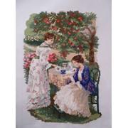 """Вышитая картина """"Чай под яблоней"""" фото"""