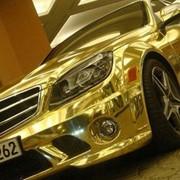 Зеркальная, золотая, цветная пленка хром. фото