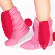 Тапочки Зайчики розовые с красными ушами фото