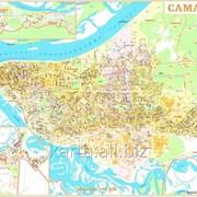 Карта Самара настенная с улицами и домами 150х200 см фото