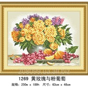 "Набор для рисования камнями ""Натюрморт с розами и виноградом"" 1269 фото"