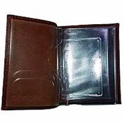 Обложка для автодокументов и паспорта, из натуральной кожи, т-коричневая фото