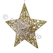 Декор Звезда металлич.золотистая с инеем фото