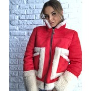 Женская дубленка-куртка на овчине и на молнии в расцветках. АВ-3-1118 фото