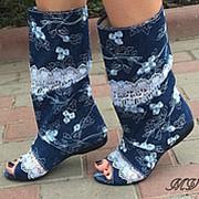 Сапоги джинсовые открытый носок фото