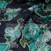 Ткань Шифон принт (цветы изумрудные на т.синем) 3327 фото