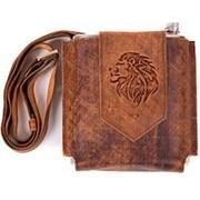 Фляжка в кожаной сумке Лев 1л. (коричн.) фото