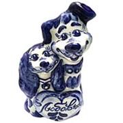 Сувенир Влюбленная парочка собак 6,5x12x5см гжель фото