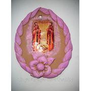 Панно керамическое с иконой святых Петра и Февронии. фото