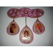 Керамическое панно с тремя иконами. фото