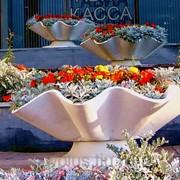 Бетонные вазоны для цветов, с подставкой (Средний, диаметр 105 см, высота 50 см, масса 60 кг) фото