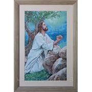 Картина «Молящийся в саду», ручная работа, вышивка. фото
