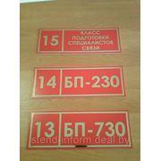 Табличка кабинетная р-р 30*10 см, фон красный, буквы золото фото