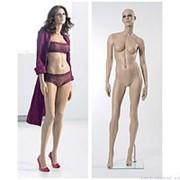 Манекен женский реалистичный телесный, с макияжем (парик отдельно), для одежды в полный рост, стоячий прямо. MD-Gold 01 фото