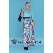 Длинное платье Платье в пол (7904/КЛ)/ верх ментол/ юбка принт цветы фото