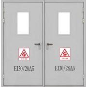 Межкомнатные противопожарные звукоизоляционные двери EI30 / 28Дб двупольные со стеклом фото