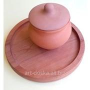 Круглая деревянная тарелка под пиццу, суши фото