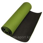Антибактериальный коврик для йоги, фитнеса ECO-FRIENDLY TPE Yoga Mat, 6 мм, темнозеленый-черный фото